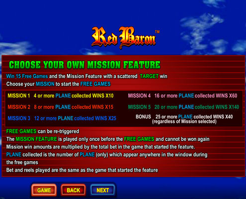 Choose your own mission features