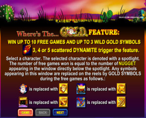 Where's the gold Pokie features - Aristocrat