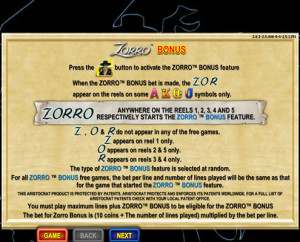Bonus feature. ZORRO over all 5 reels starts the bonus feature